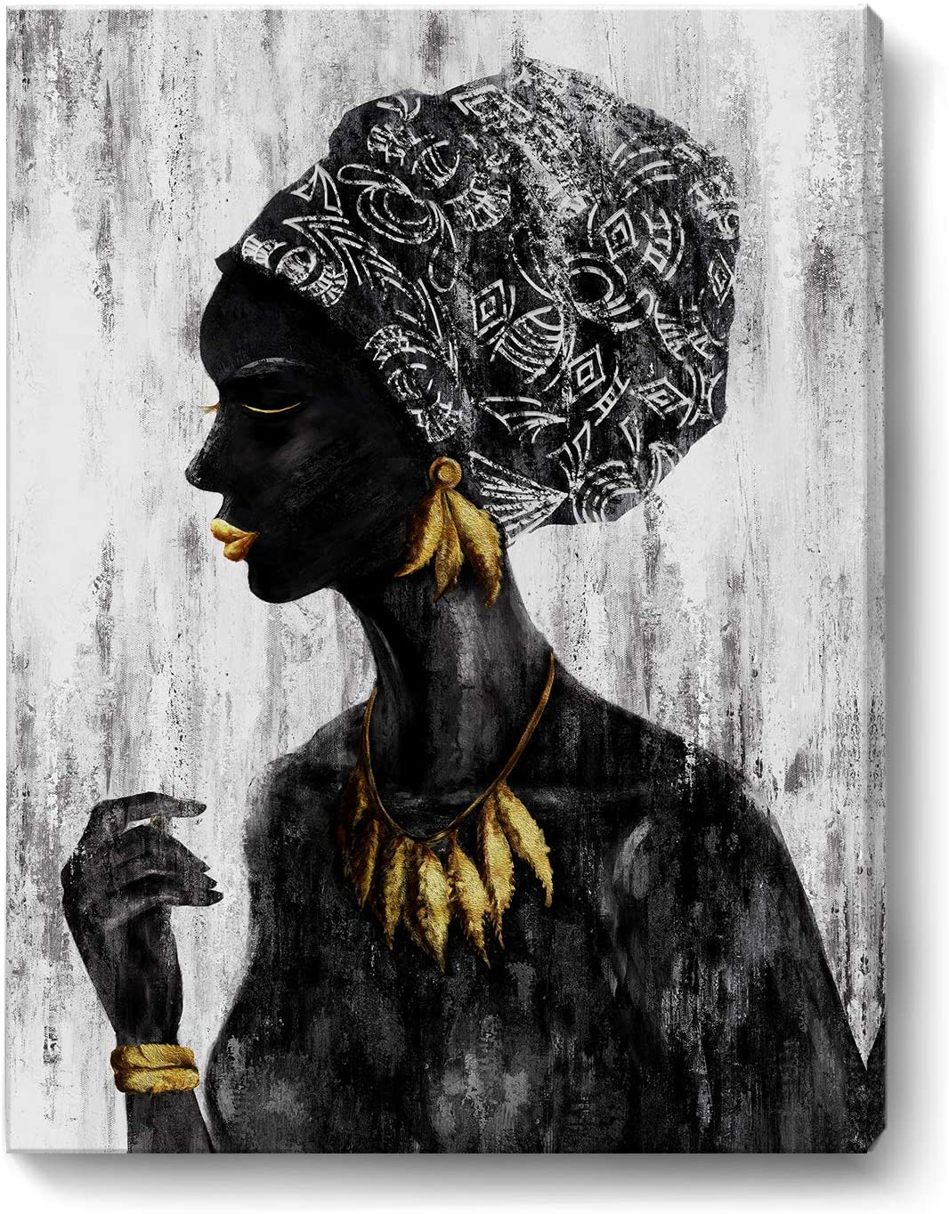 African American Wall Art Black and White Framed Retro Wall Picture Traditional Women Girl with Gold Accessories Canvas Print Tribal African Female Portrait Artwork for Home Bathroom Bedroom Vintage Décor 12x16inch