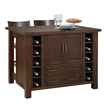 Cabin Creek Kitchen Island With Breakfast Bar And Two Stools
