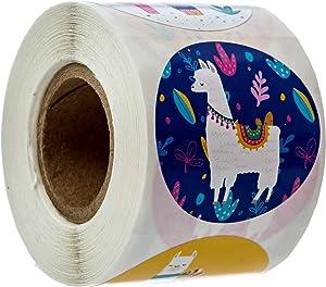 Llama Party Stickers / 250 Stickers per roll / 6 Colorful Alpaca Designs