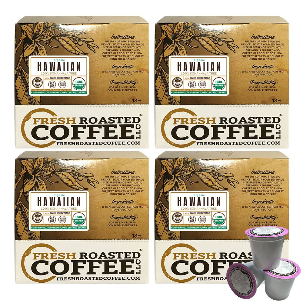 Organic 100% Hawaiian Kona Coffee Cups, Direct Trade - Hala Tree Farms, 72 ct. of Single Serve Capsulesfor Keurig K-Cup Brewers, Fresh Roasted Coffee LLC. by Fresh Roasted Coffee (Image #1)