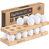 EggNesto Wooden Egg Holder Countertop, 2 Egg Trays – Rustic Chicken Egg Holder, Wooden Egg Tray, Stackable 24 Egg Rack for Fr