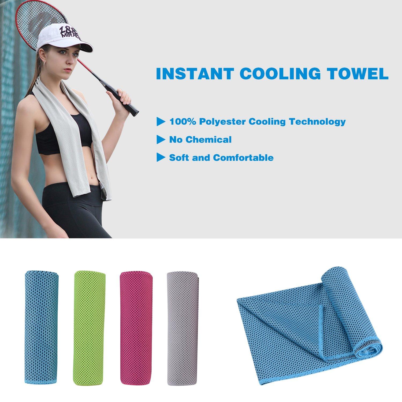 COMIXX Cooling Towel Sport Towel 40x12 Snap Cool Towel Multi-Purpose Super Soft Breathable Travel Towel Outdoor Towel Yoga Towel Gym Towel