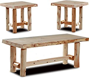 Rustic Log Coffee and End Table Set Pine and Cedar (Unfinished)