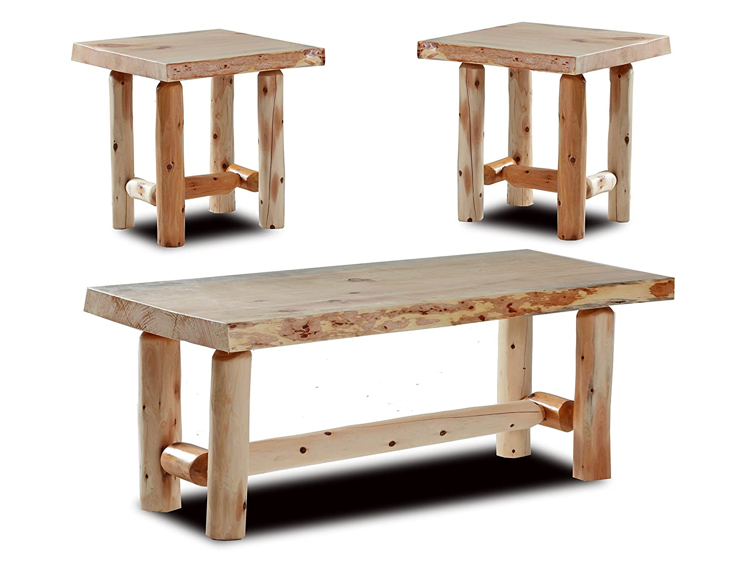 Amazon.com: Rustic Log Coffee And End Table Set Pine And Cedar (Honey  Pine): Kitchen U0026 Dining