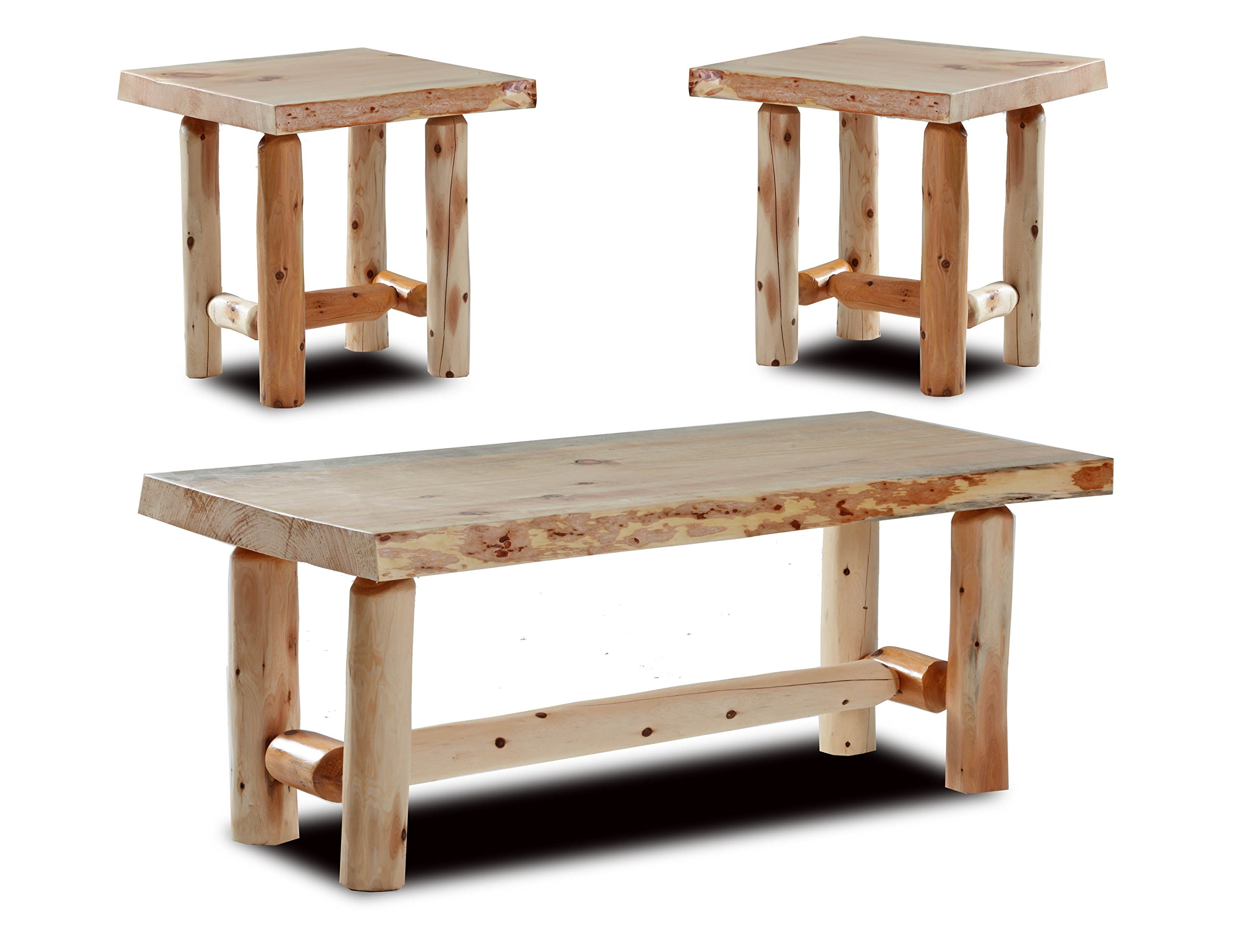 Rustic Log Coffee and End Table Set Pine and Cedar (Natural Clear) by Southern Rustic Logwerks