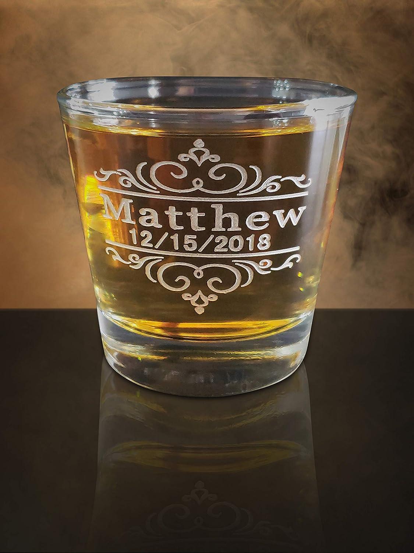 Amazon.com: Wedding shot glass gift, Custom engraved 3oz Short heavy bottom style shot glass, Groomsmen, Officiant, Best Man gift, His and her gifts: ...