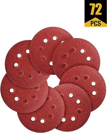 Discs Pads for Random Orbital Sander 5 Inch 80 Pieces Sanding Discs 40//60//80//120 Assorted Grits Sandpaper Hook and Loop 8 Holes 125mm