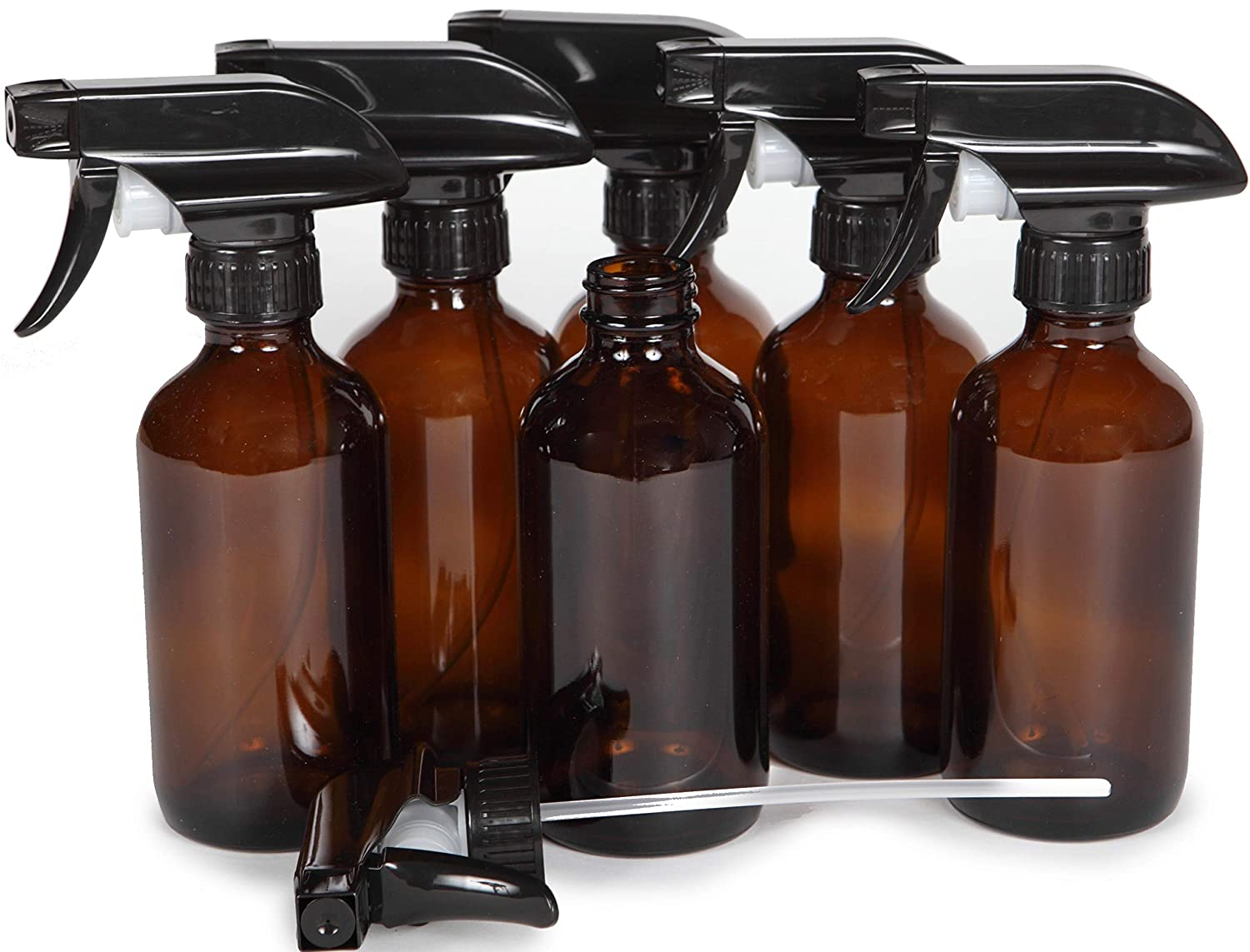 Vivaplex, 6, Large, 8 oz, Empty, Amber Glass Spray Bottles with Black Trigger Sprayers
