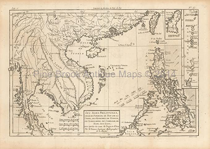 ada8a8f2d5134 Philippine Islands Antique Map Bonne 1780 Original Filipino Decor ...