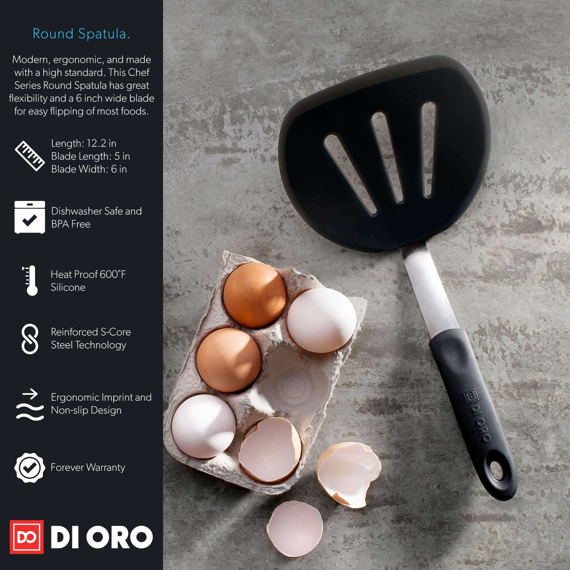 DI ORO Premium Chef Series Round Flexible Silicone Turner Spatula – The Perfect Pancake Flipper, Egg Turner, and Omelet Spatula - 600ºF Heat Resistant Rubber Spatula – Wide to Easily Handle Large Food by di Oro Living (Image #3)