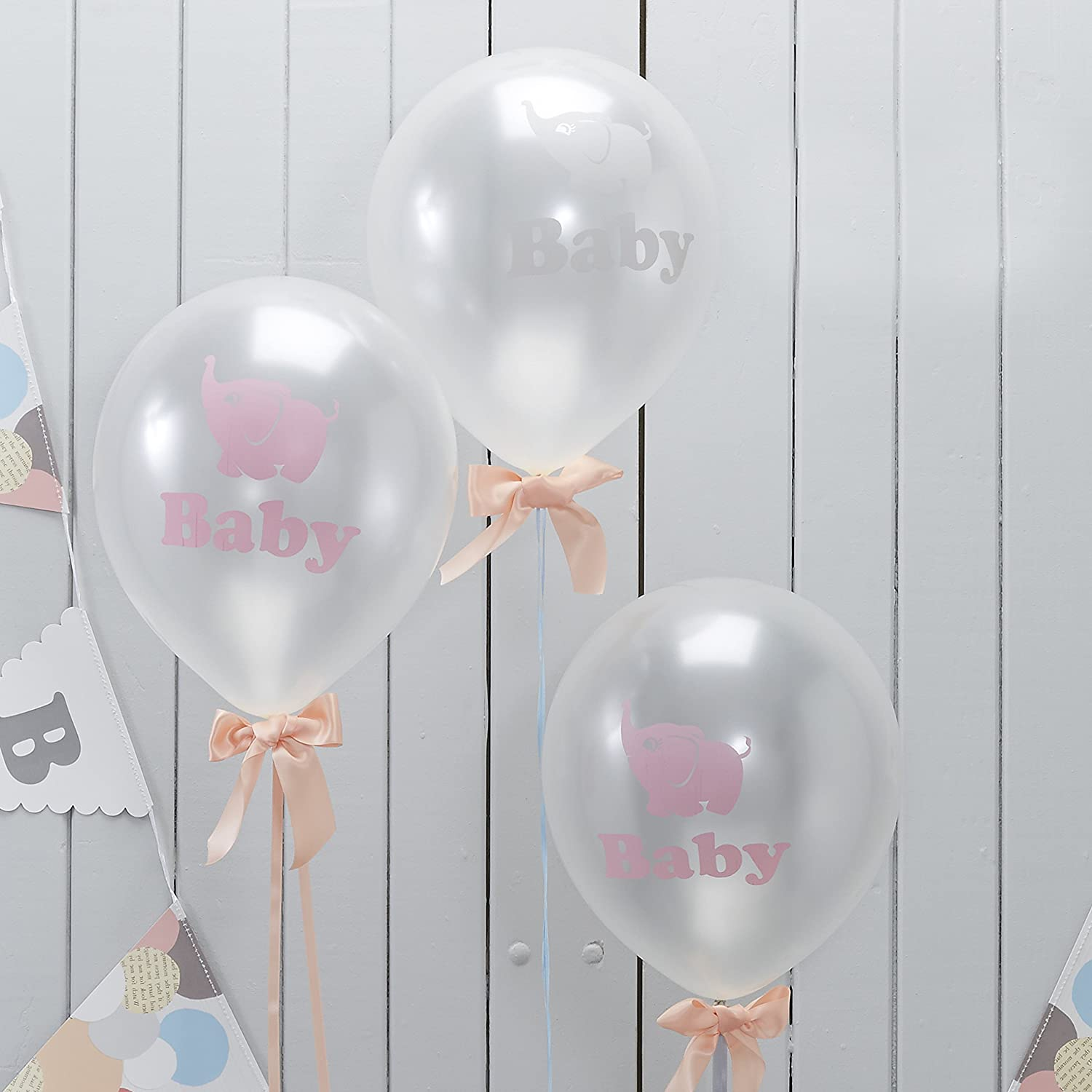 Amazon.com: Ginger Ray Little One Baby Elephant Shower Pearlised Balloons,  Mixed: Kitchen U0026 Dining