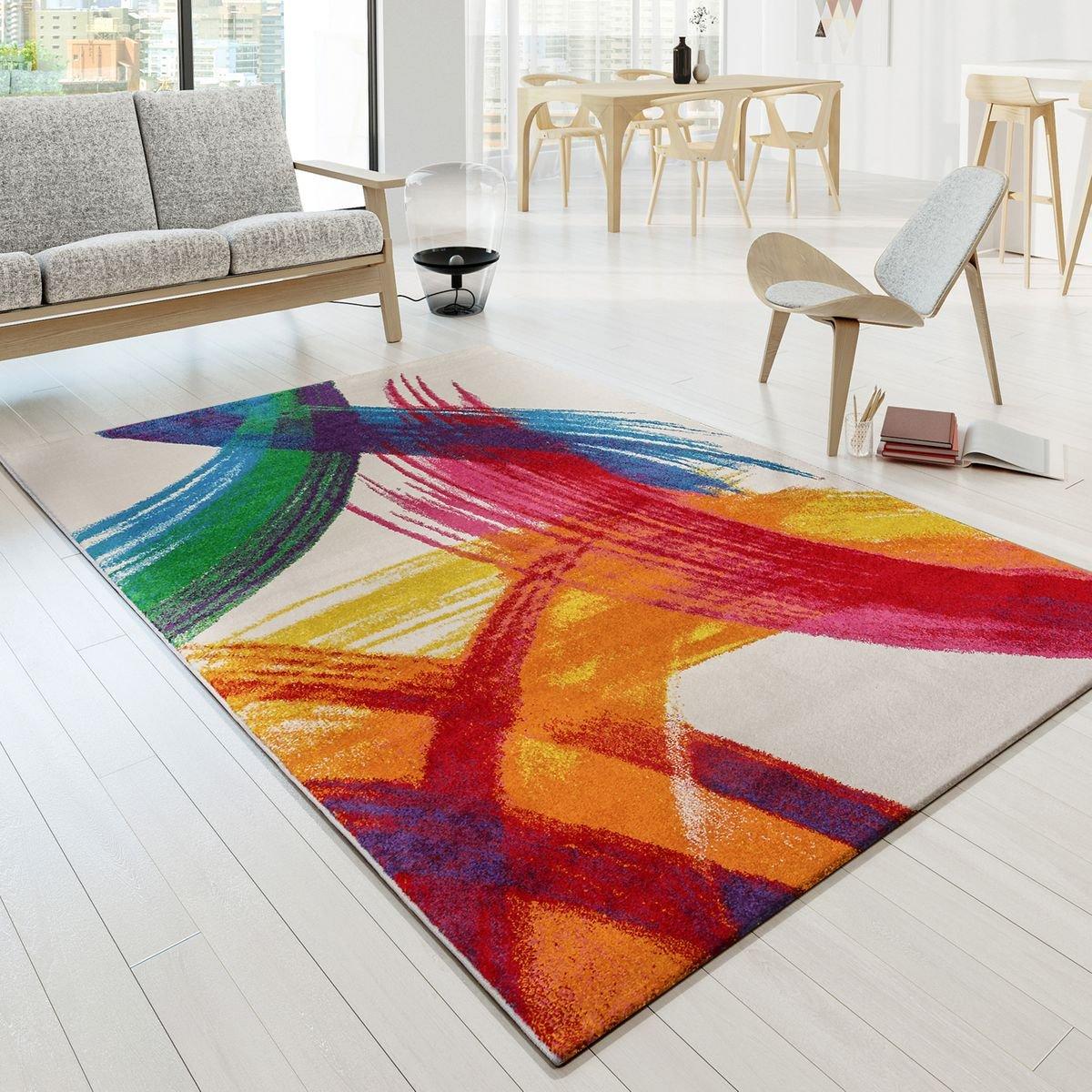 T&T Design Tapis De Créateur Multicolore Œuvre d'art Picasso Aspect Brush Moderne Multi Crème Jaune Rouge, Dimension:160x230 cm