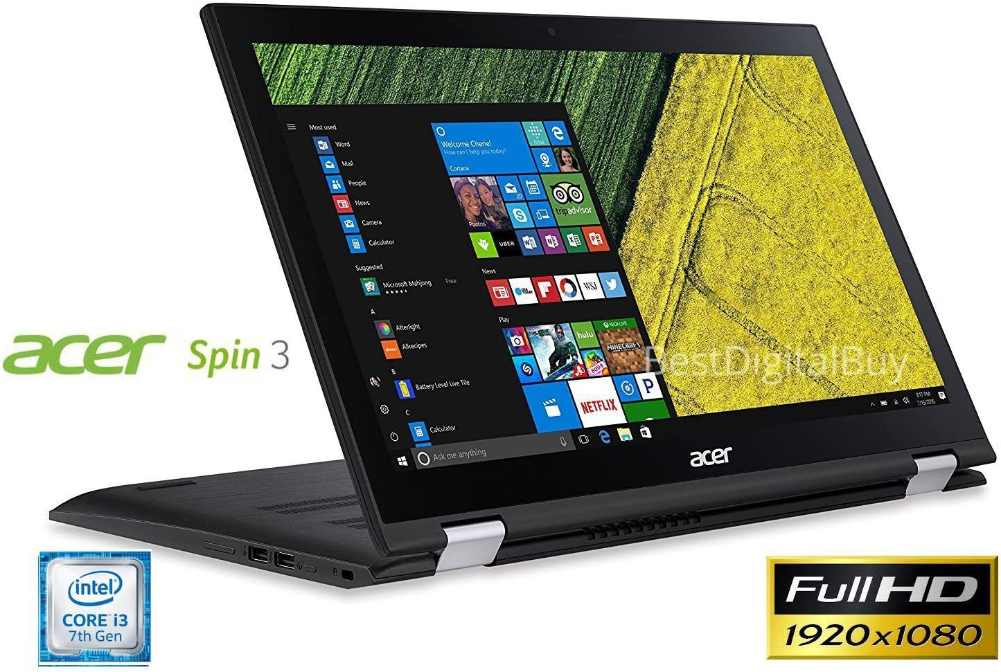 Acer Spin 3 SP315-51 Touch 2-1 Laptop 7th Gen Intel Core i3 up to 2.4GHz 6GB 1TB 15.6in Full HD LED Cam HDMI (Renewed)