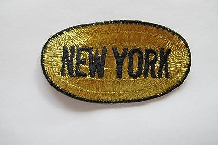 Amazon.com: gold black new york word badge embroidery iron on