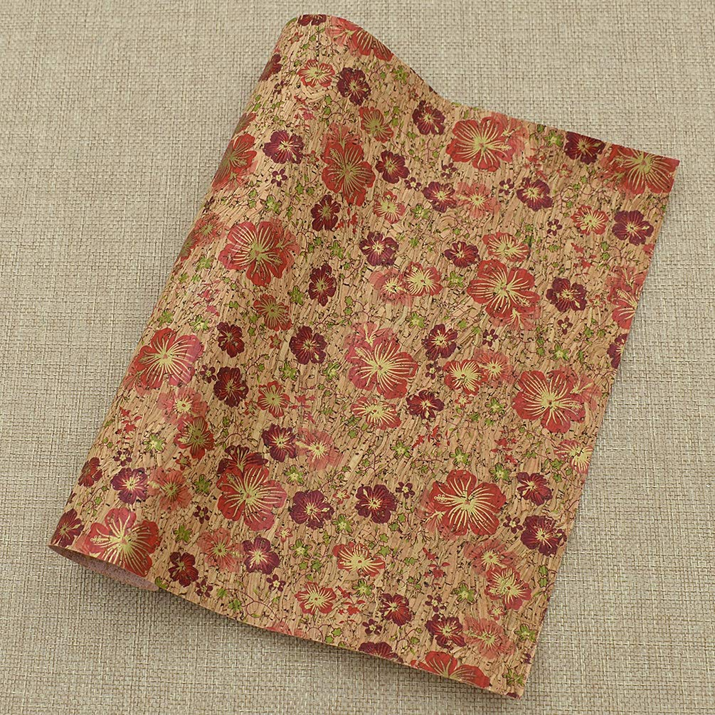 CHZIMADE A4 Flower Printed Soft Cork Fabric DIY Sheet Canvas Back Great for Hair Bows Making Craft 16.5 x11.8 All Color