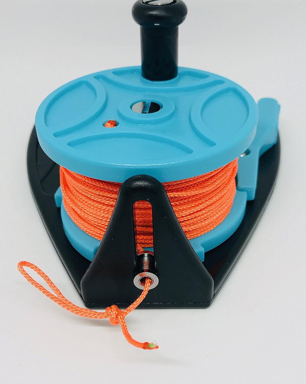 Scuba Diving Ratchet Reel 150ft 45m Light Blue with Orange Line