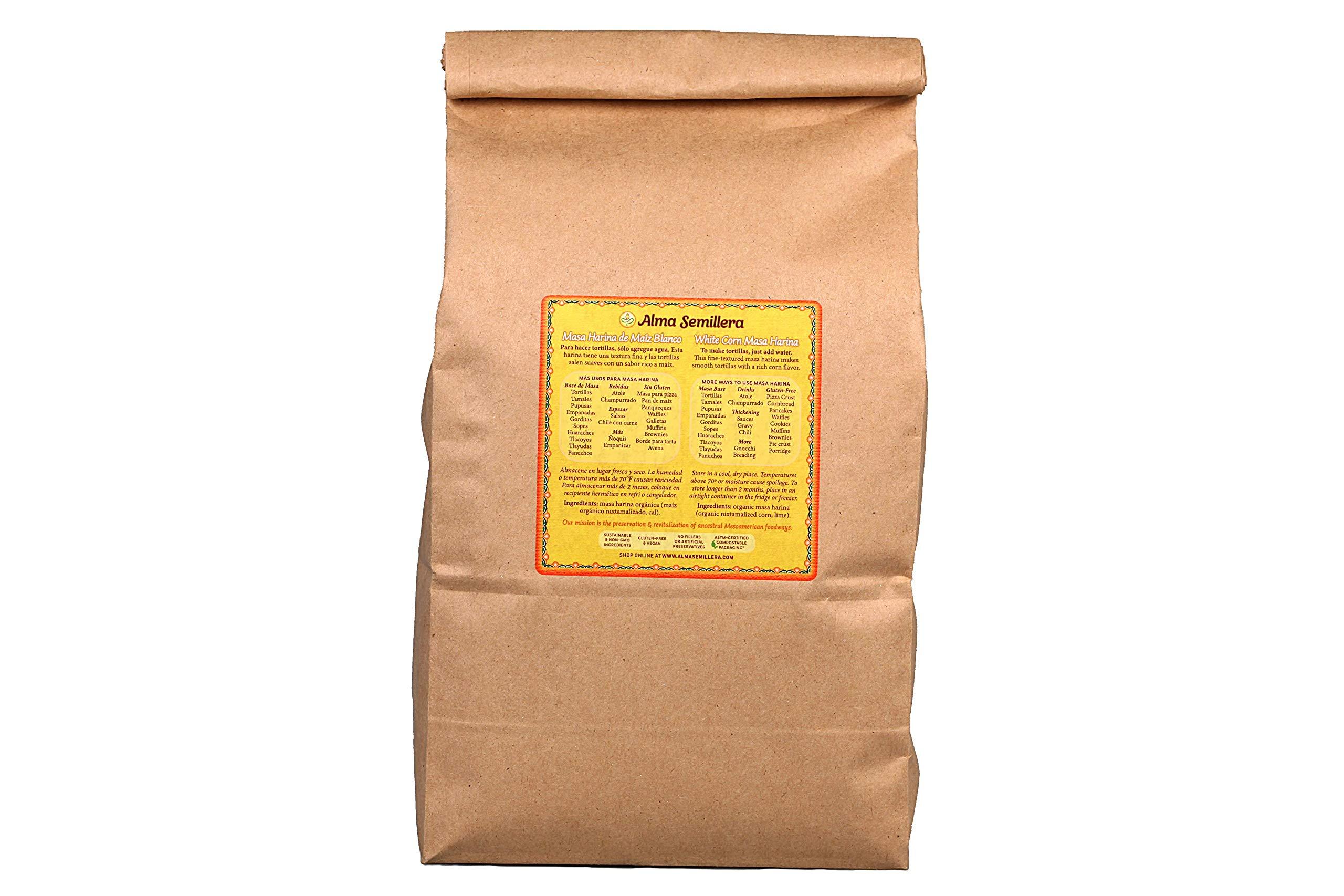 ALMA SEMILLERA White Corn Masa Harina - Non-GMO, Gluten Free, Vegan, Fine Texture (5lb) by Alma Semillera