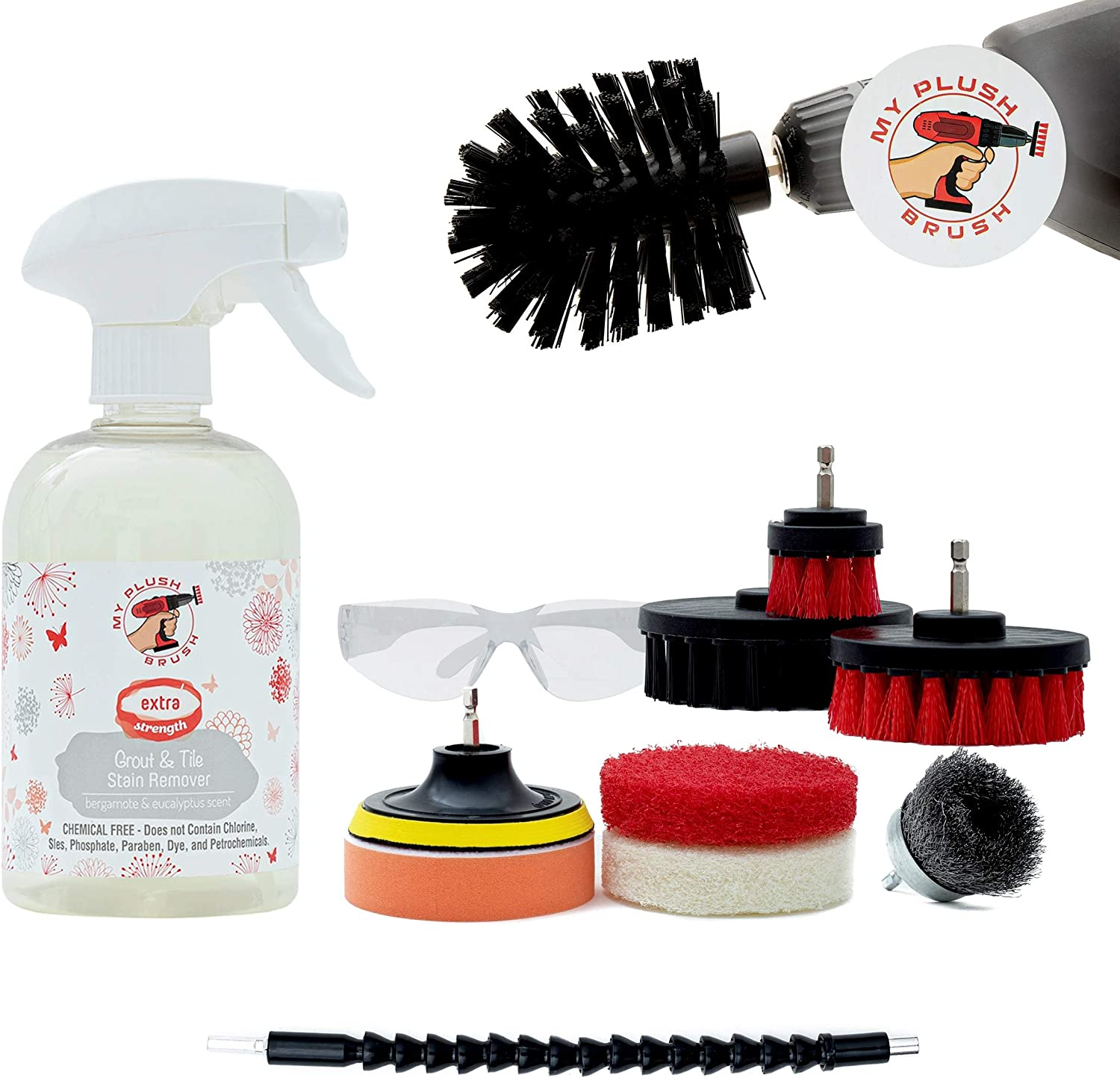 Heavy Duty Drill Brush Kit-Power Scrubber Cleaning Set For Shower Tile, Carpet, Brick, Grout, Kitchen, Grill, Bathroom, Car Detailing-Rims cleaner scrub [Extended Reach Attachment & Stain Remover]