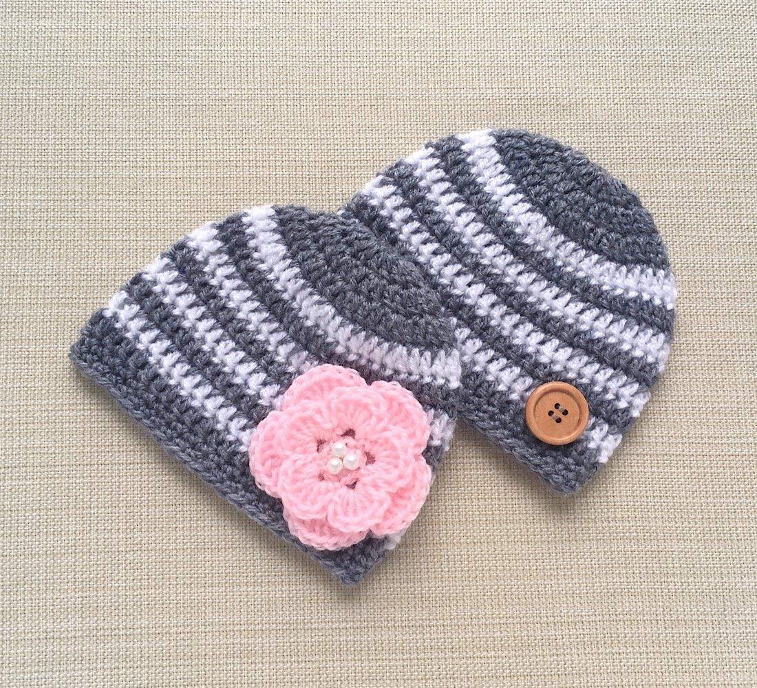 Amazon.com  Baby Twins Boy And Girl Hats Set Crochet Newborn Hospital  Beanies For Photography Infant Photo Props  Handmade 6797d2716df3