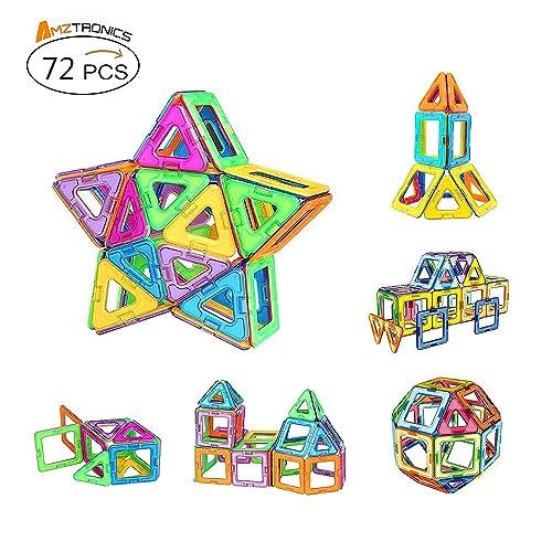 Blocs de Construction Magnétiques, AMZtronics Mini Jeu (72 Pièces) Blocs Construction Magnétiques Cadeau Educatif et Créatif pour Les Enfants Permet à Votre Enfant D'apprendre Les Formes et Les Couleurs en Jouant