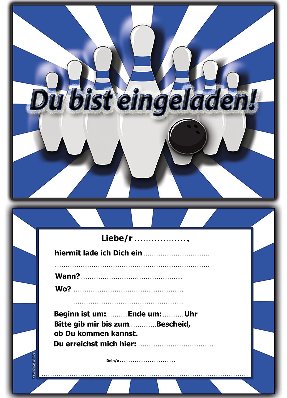 EInladungskarten Kindergeburtstag Bowling Kinderparty Mit Text   8 Stück  Blau: Amazon.de: Bürobedarf U0026 Schreibwaren