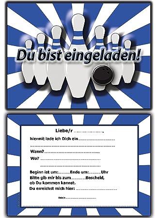 EInladungskarten Kindergeburtstag Bowling Kinderparty Mit Text   8 Stück  Blau