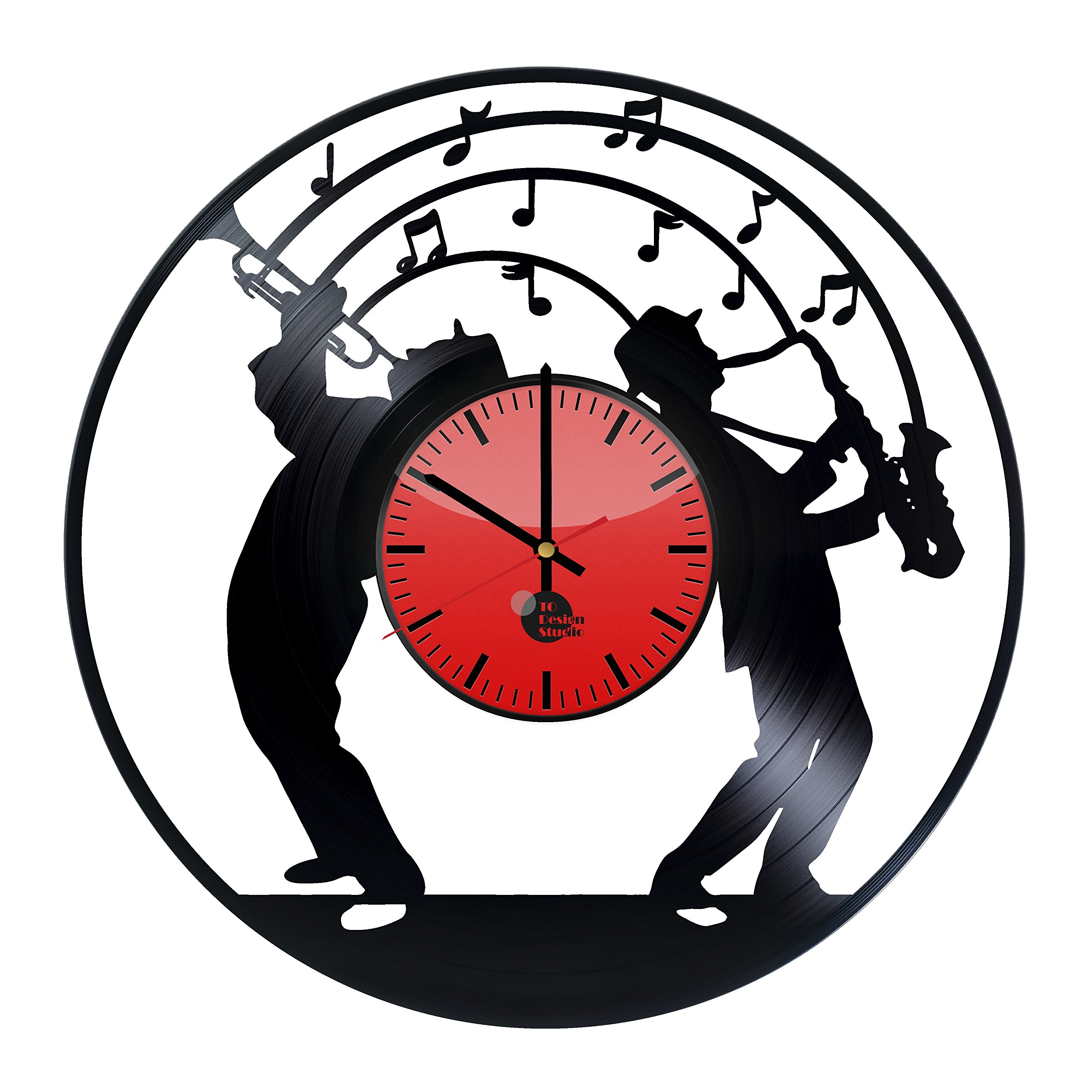 Jazz Vinyl Record Wall Clock - Get unique living room wall decor - Gift ideas for men,women and siblings – Music Unique Art Design - Leave us a feedback and win your custom clock