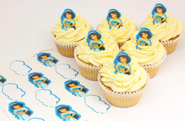 Cakeshop 12 x PRE-CUT Disney Princess Jasmine Stand Up Edible Cake ...