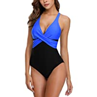 Charmo Womens Retro Slimming One Piece Swimming Costume Tummy Control Swimsuits
