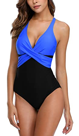 Charmo Women Tummy Control One Piece Swimming Costume Retro Padded Swimwear  Black 878b18ec1