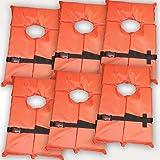 6 Pack Type II Orange Life Jacket Vest - Adult Universal Boating PFD by Hardcore Water Sports