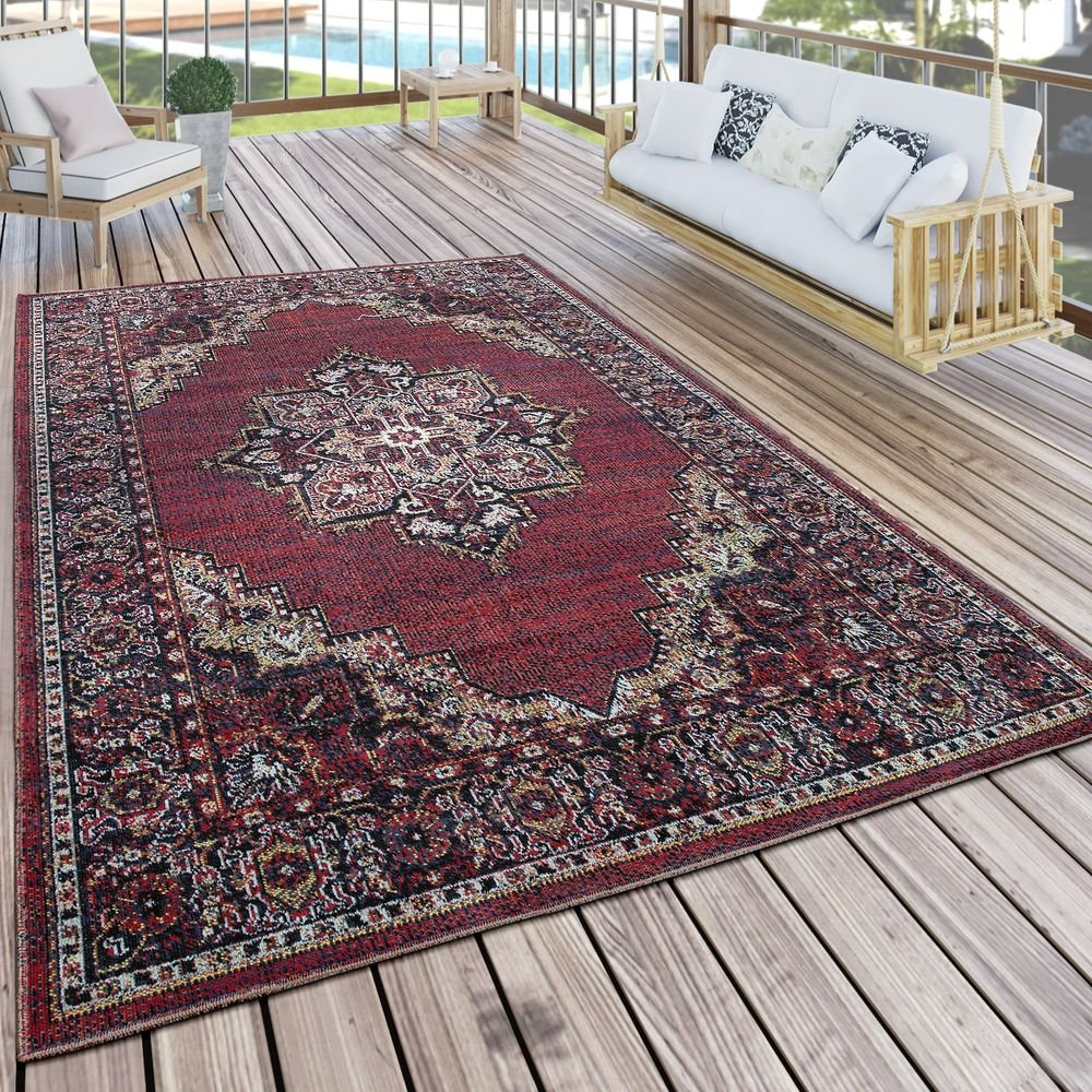 Paco Home In- & Outdoor Teppich Modern Vintage Look Terrassen Teppich Wetterfest Bunt, Grösse:200x280 cm