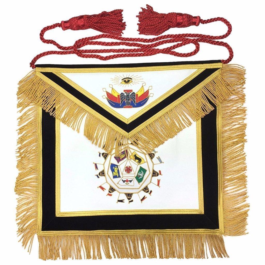 レンガMasons MasonicスコットランドRite 32 nd度エプロン手刺繍ロイヤルの秘密のマスター 標準 ブラック  レザー B07C14MJNZ