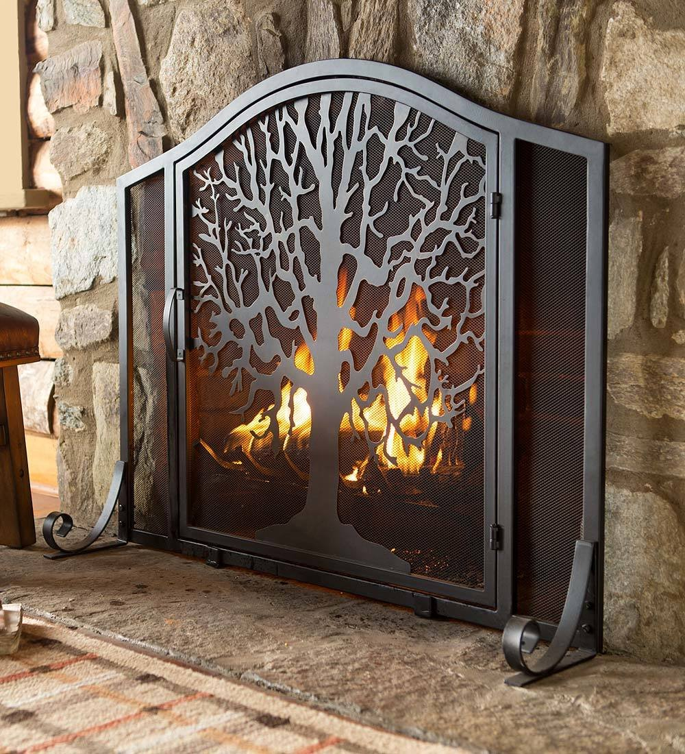 Plow & Hearth Large Tree of Life Metal Fireplace Screen with Single Hinged Door, Free Standing Spark Guard, 44 W x 33 H x 11.5 D, Black and Gold Flecked by Plow & Hearth