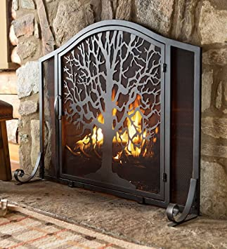 amazon com large tree of life metal fireplace screen with single rh amazon com Fireplace Mesh Screen Two-Door Fireplace Screens