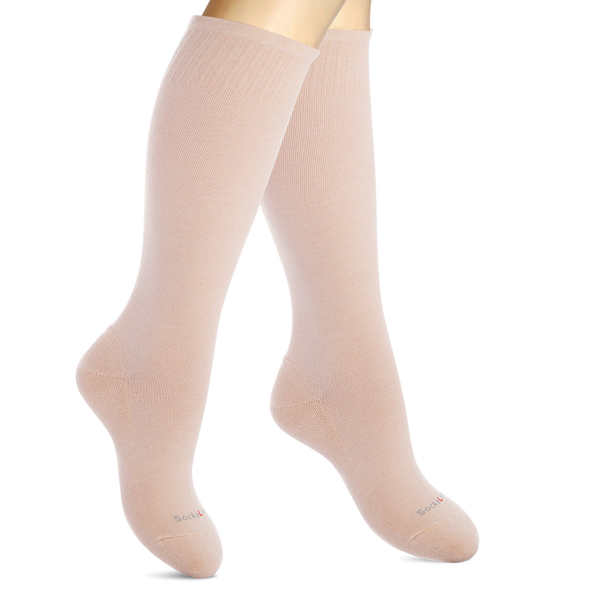 Cotton Compression Socks for Women. Graduated Stockings for Travel, Flight, Pregnancy, Nurses, Maternity, Varicose Veins, Calf Support. 15-20 mmHg Airplane Traveling Hose. Knee High 1 Pair