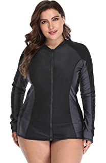 018734a586297 ATTRACO Womens Plus Size Long Sleeve Rash Guard Top Zipper Sufing Swim Shirt