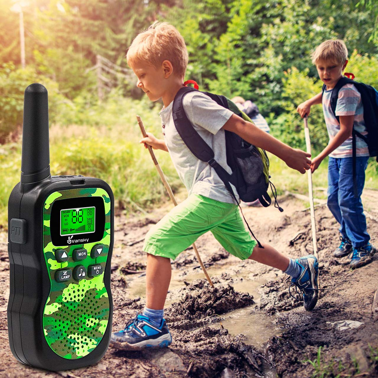 Vansky Walkie Talkies for Kids, Kids Toys 4 5 6 7 8 Age Boy Girl Long Range 22 Channel Built-in Flashlight 2 Way Radio Best Gifts Games, Outdoor Adventure, Camping, Hiking (Camo Green) by Vansky (Image #3)