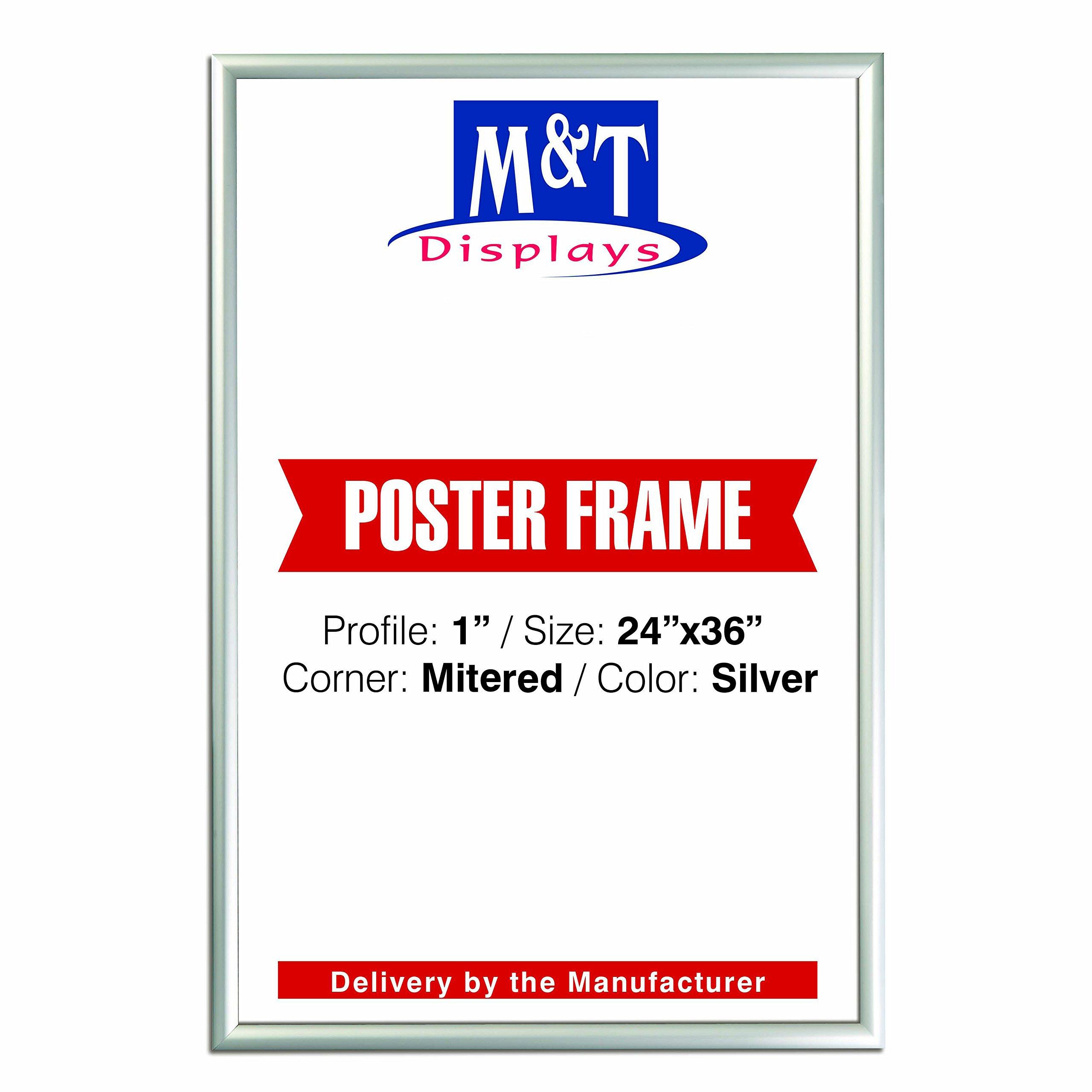DisplaysMarket Snap Frame, 24X36 Poster Size, 1'' Silver, Mitred Corner, Front Loading by DisplaysMarket