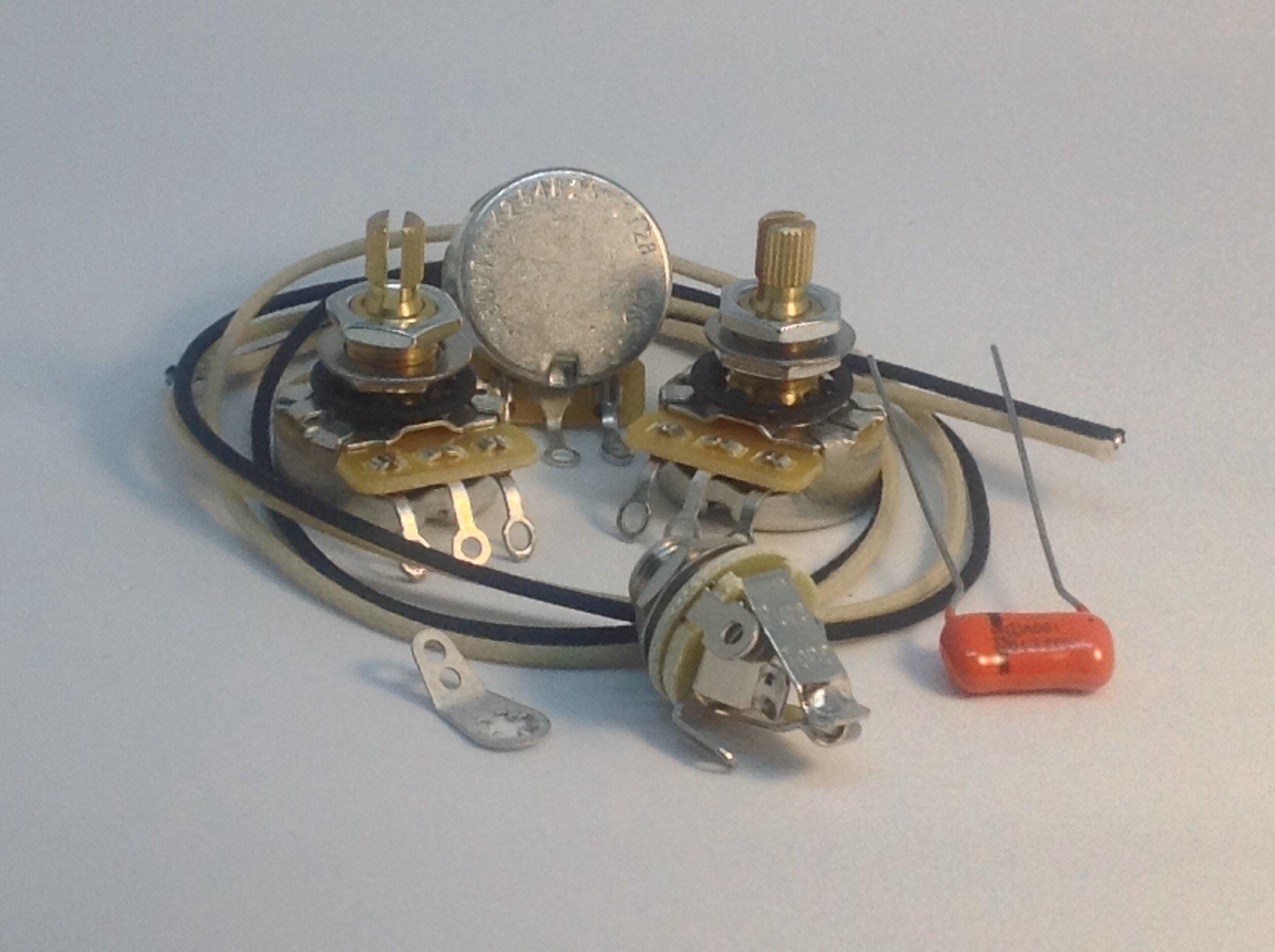 Jazz Bass Wiring Kit CTS Knurled 450G Pots .033uf 225P Orange Drop Gavitt Cloth Wire Pure Tone Full-Contact Output Jack