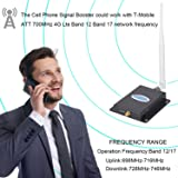 Phonelex Cell Phone Signal Booster AT&T T-Mobile 4G LTE Cell Phone Booster Amplifier Repeater 700Mhz Band12/17 Mobile Signal Booster Indoor Whip/Outdoor YaGi Antenna Home Use