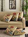 """Romee Multicolor Polyester Jute Fabric Painterly Print Cushion Cover 16"""" x 16"""" (Set of 5)"""