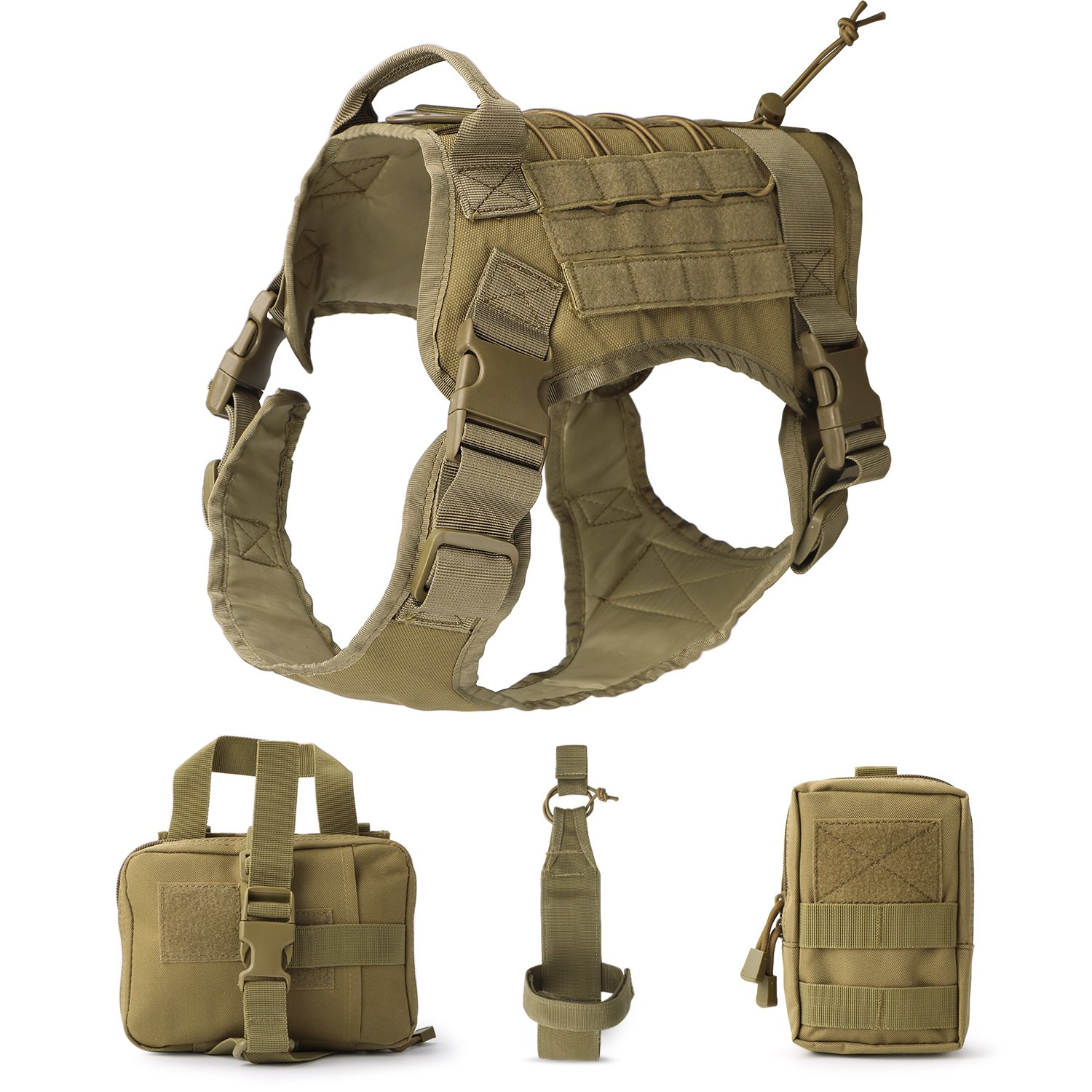 JASGOOD Tactical Dog Vest Military Harness With Detachable Molle Pouches/Patches Outdoor Training Handle Service Dog Vest by JASGOOD (Image #1)