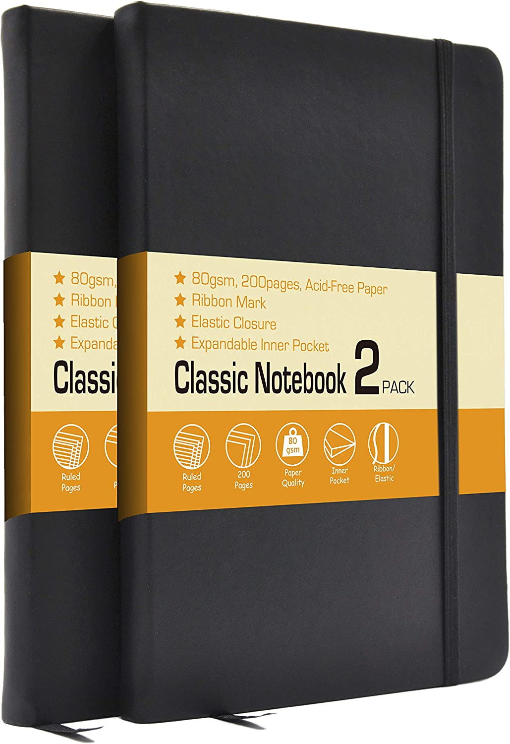 "LYTek Classic Notebook Journals, 2 Pack 5.15""x8.25"" Ruled Hardcover Notebooks,Faux Leather and Elastic Closure with Pocket,Premium Acid Free Paper,200 Pages Per Pack. (Black)"