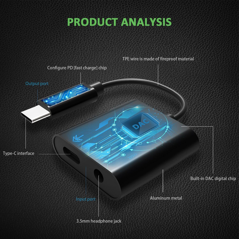 Adaptador de cargador de audio tipo C, XIIVIO 2 en 1 USB C a ...