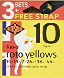 Rotosound R10-31 Electric Guitar Strings with Strap (Pack of 3)