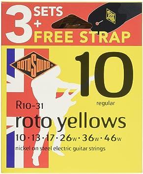 Rotosound R10VP Value Pack R10 (3 Sets R10 + FREE Strap): Amazon.es: Instrumentos musicales