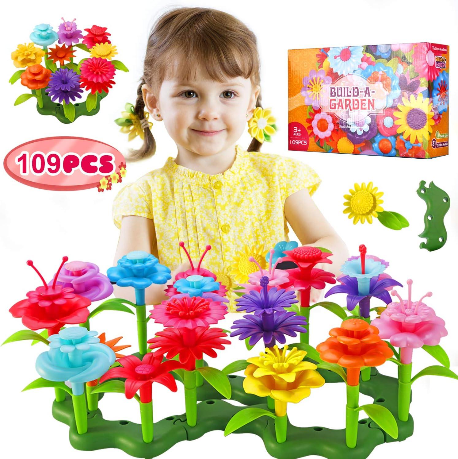 TURN RAISE Flower Garden Building Toys for Girls,109 Pcs Garden Bouquet Blocks,Creative Educational Stem Toys for for Preschool Children Age 3 4 5 6 7 Year Old (Style-2)
