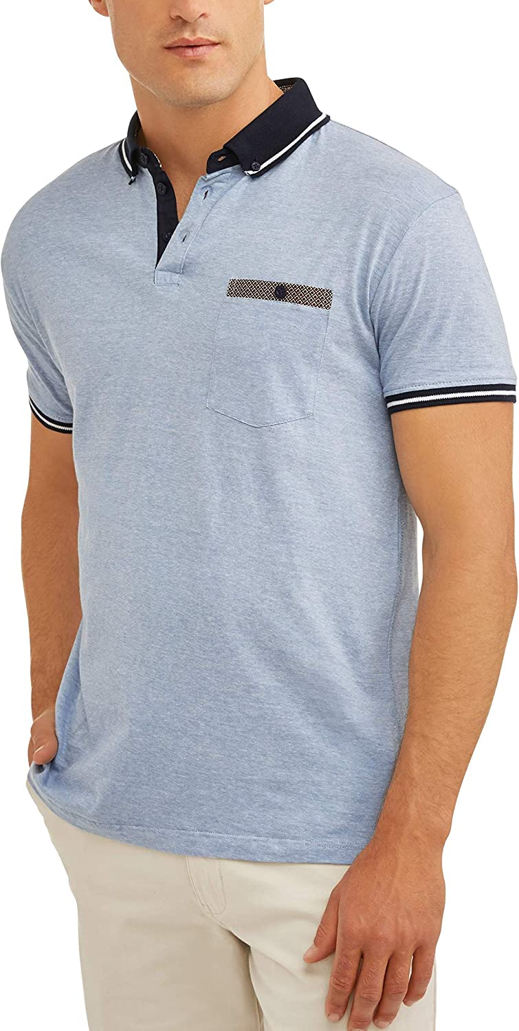 Swiss Cross Big Men's Pin Stripe Jersey Polo with Front Chest ...