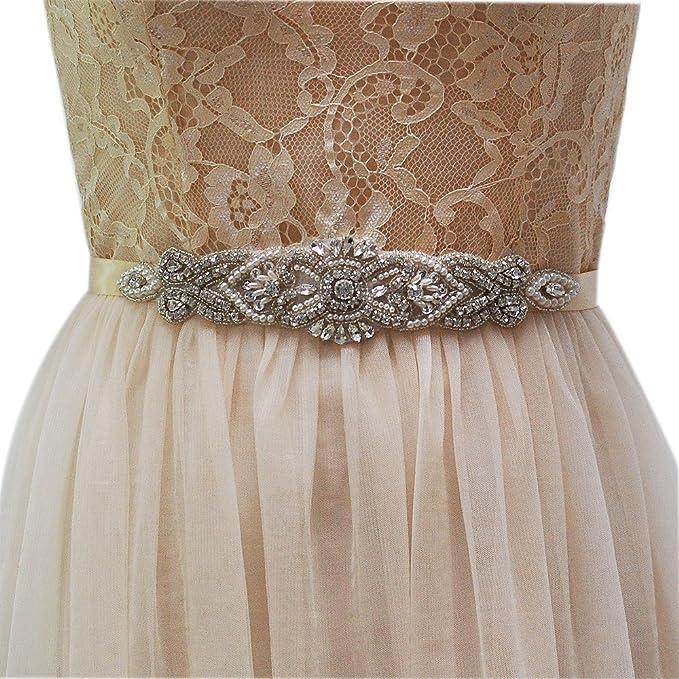 TOPQUEEN lazos de cristal boda cinturón novia Sash – Cinturón de la mujer, multicolor